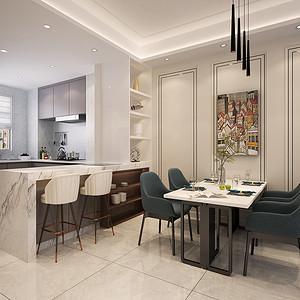 厨房是一个开放式厨房,连接餐厅,客厅,拉伸空间感,加上沙发背景的木质护墙和硬包增加房间的设计感。