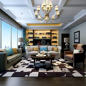 时代奥城美式风格客厅装修效果图