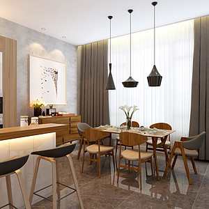 碧桂园现代简约风格餐厅装修案例效果图