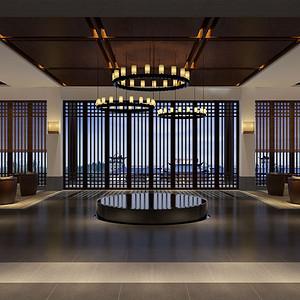 新中式-大厅-装修效果图