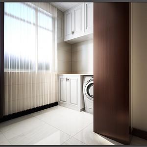 中式风格-阳台-装修效果图