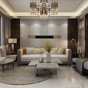 保利拉菲132平三室二厅轻奢风格装修案例