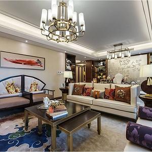 凡尔赛124m²新中式三居室装修效果图