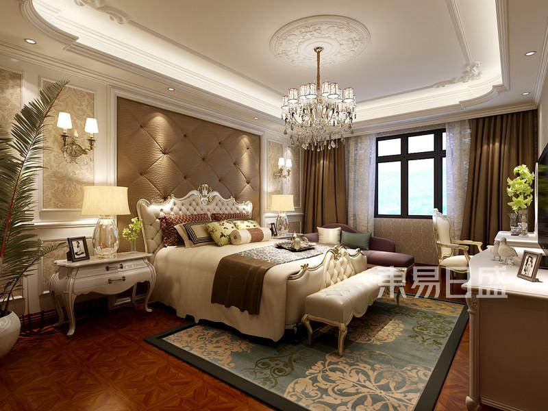欧式古典 - 主卧:床头背景墙软包搭配烤漆护墙板