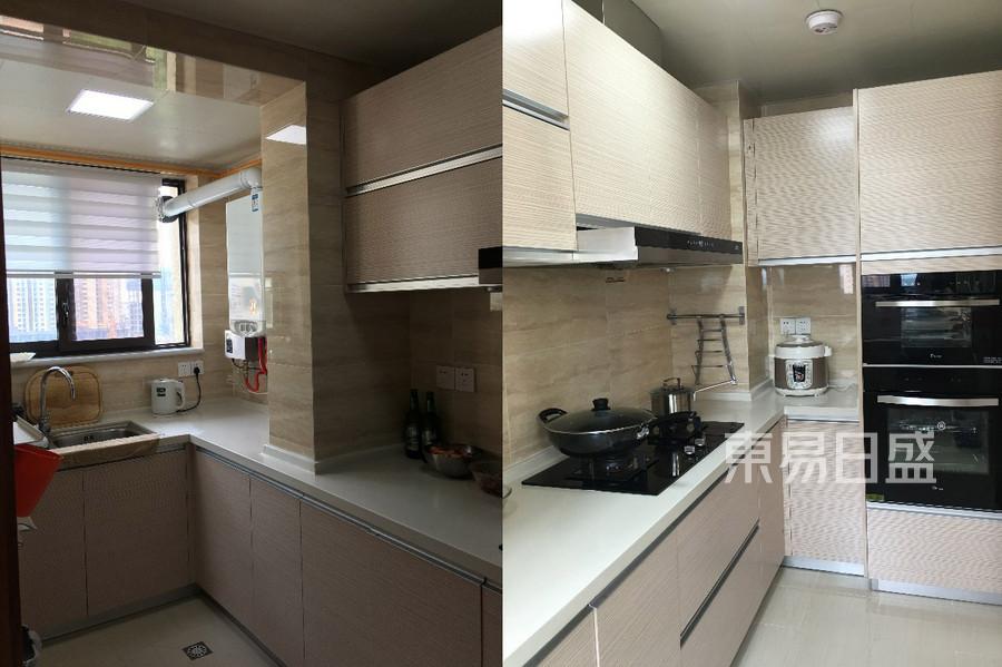 110㎡三居 现代中式风格装修 厨房装修实景图