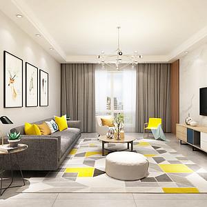 海埂悦府128平米三居室北欧风格案列装修效果图