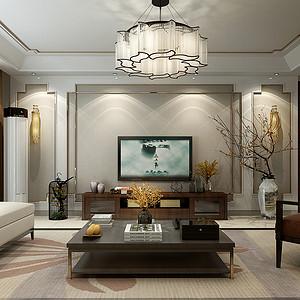 国富华庭三室两厅新中式风格装修案例
