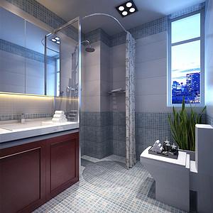 亿城堂庭新中式风格卫生间装修效果图