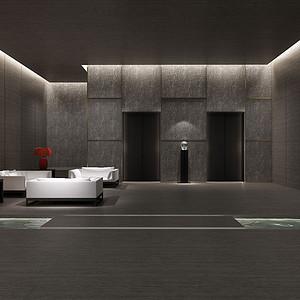 新中式-电梯间-装修效果图
