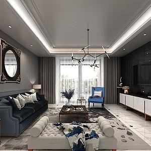 海珀澜轩313㎡叠加别墅后奢主义装修风格效果图