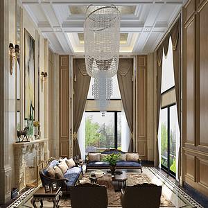 692㎡别墅欧式风格客厅效果图