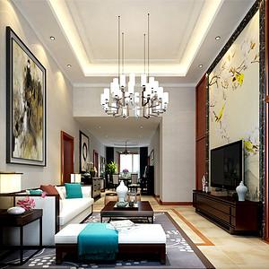 亿城堂庭新中式风格客厅装修效果图