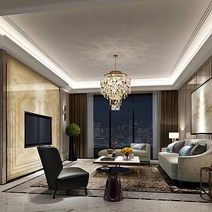 180㎡新古典轻奢风格客厅