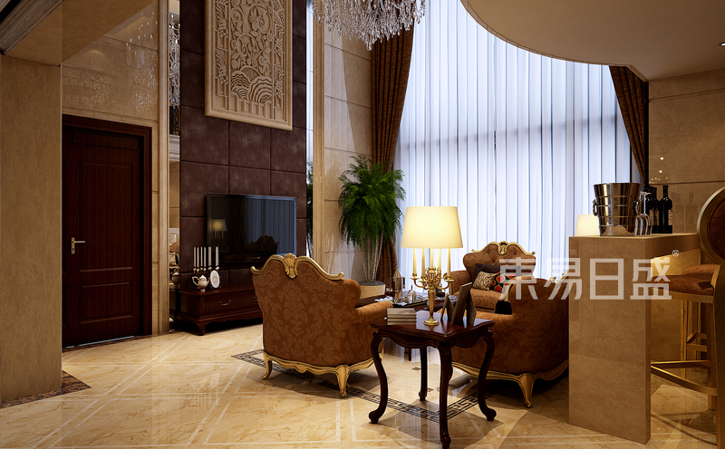 欧式古典 - 客厅地面采用石材拼花