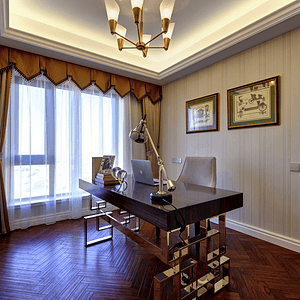 美式风格书房装修实景图