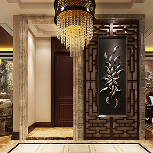 三居室-新中式-入户门厅-效果图