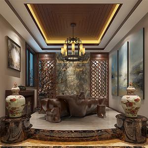 三居室-新中式-饮茶区-效果图