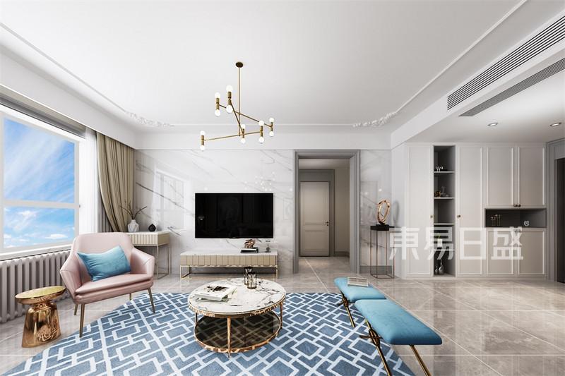 三居室 轻奢风格 客厅电视背景墙 效果图效果图 装修效果图大全2018图