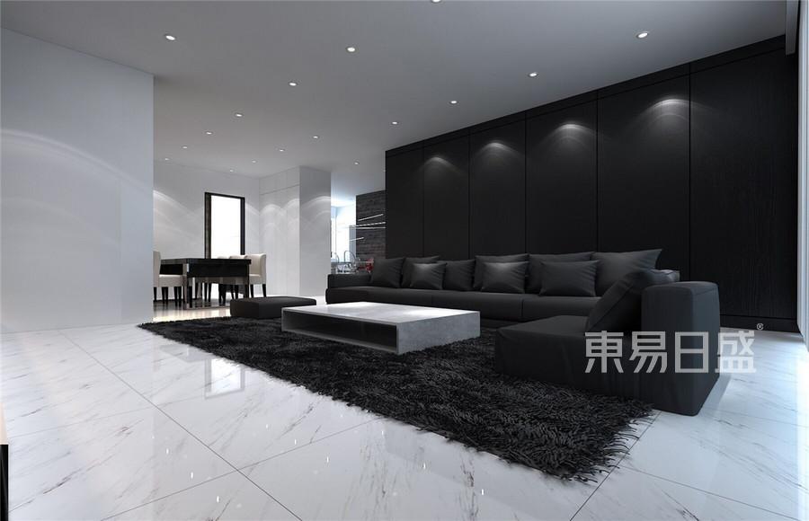 天安珑园极简风格客厅装修效果图