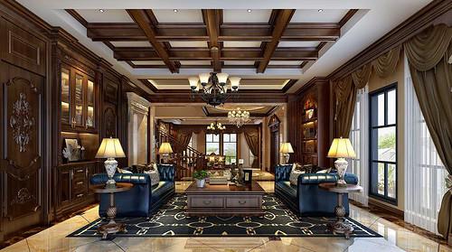 卡地亚400㎡别墅美式风格装修效果图