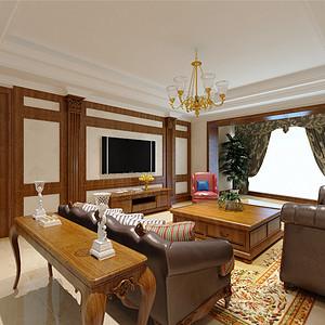 天鹅湖古典美式风格客厅装修效果图