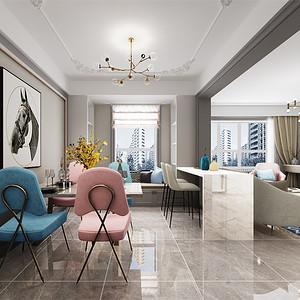 三居室-轻奢风格-餐厅-效果图