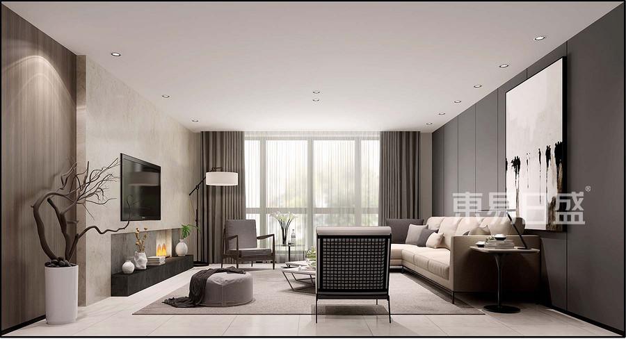 新极简风格客厅装修设计效果图_2018装修案例图片-