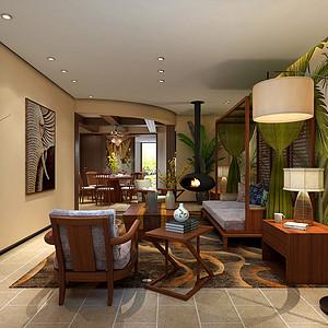 保利两河森林134㎡别墅东南亚风格效果图
