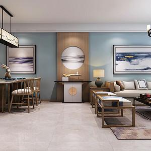 餐客一体的空间,与走廊对应造型划分区