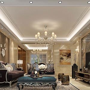 180㎡平层欧式风格客厅效果图