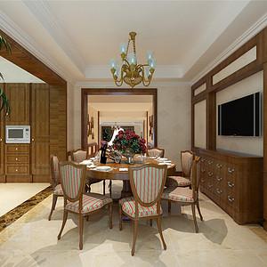 天鹅湖古典美式风格餐厅装修效果图