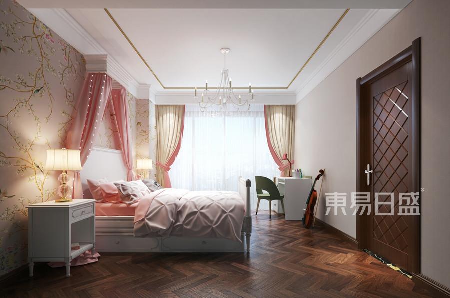 别墅设计-新中式装修案例-女孩房装修效果图
