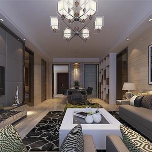 四房二厅现代简约客厅装修效果图
