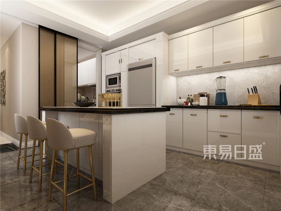 三居室-美式乡村-厨房效果图