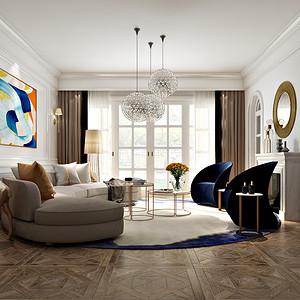 瑞士半山-500平别墅装修设计-客厅