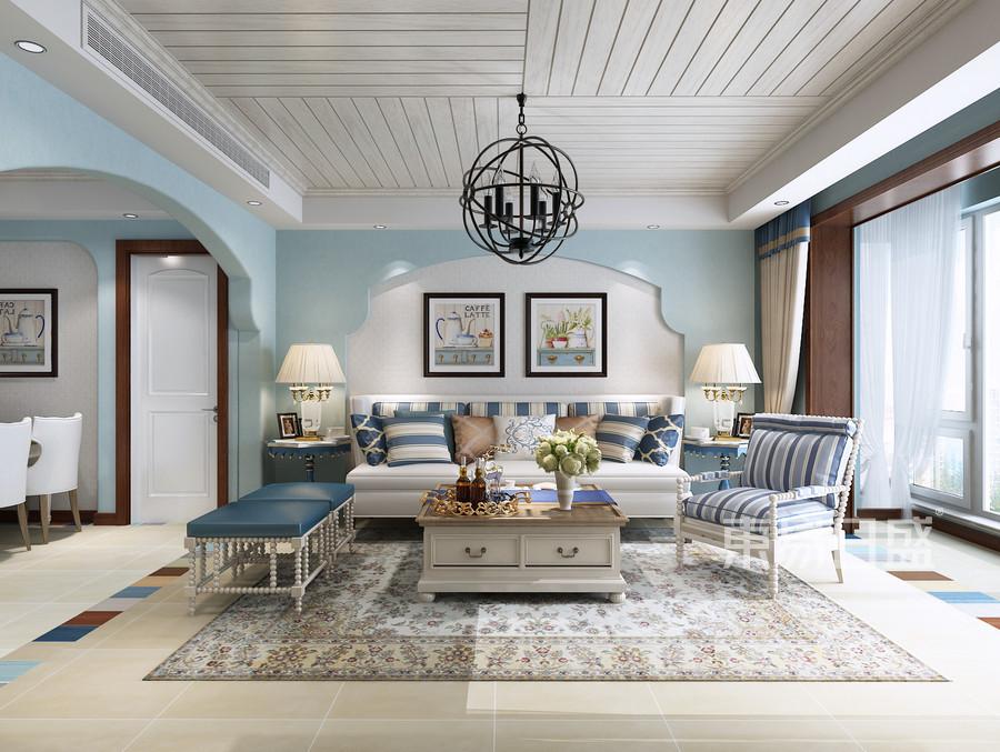 烟台装修公司-地中海设计案例-客厅装修效果图图片
