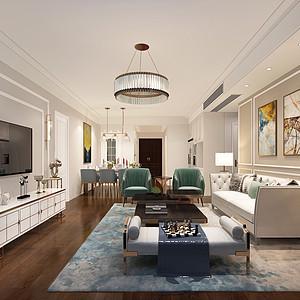东坑四季松湖家装案例 133㎡简欧四房二厅装修效果图