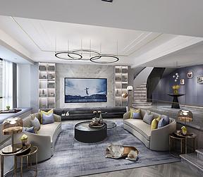 240㎡复式现代轻奢风格客厅效果图