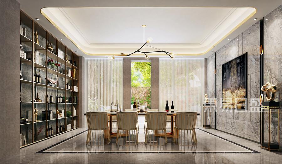别墅设计-现代轻奢风格装修案例-餐厅装修效果图
