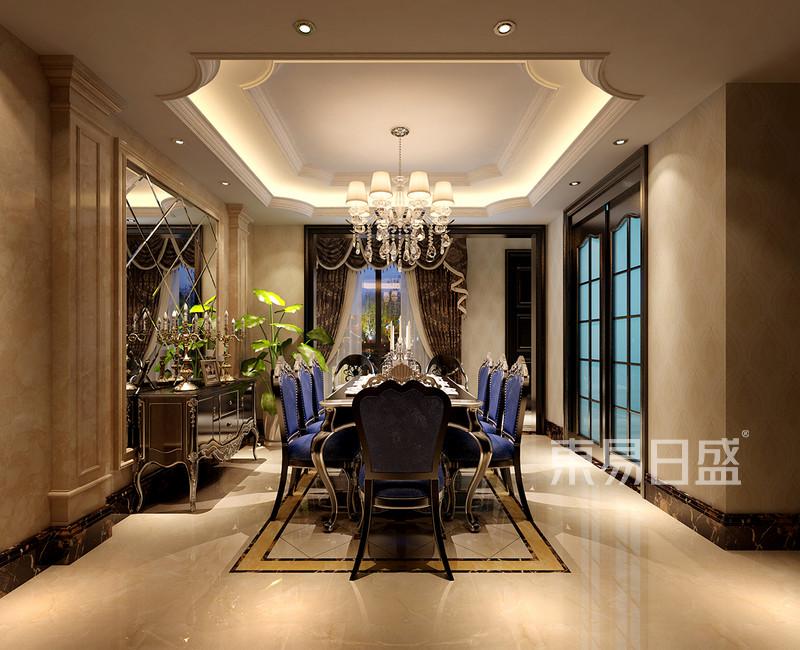 欧式古典 - 顶面造型和地面拼花的设计相辅相成,蓝