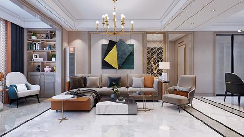 海河湾 现代轻奢装修效果图 三室二厅 157平米
