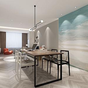 二居室-现代简约-餐厅-效果图