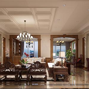 橡树湾中式风格客厅装修效果图
