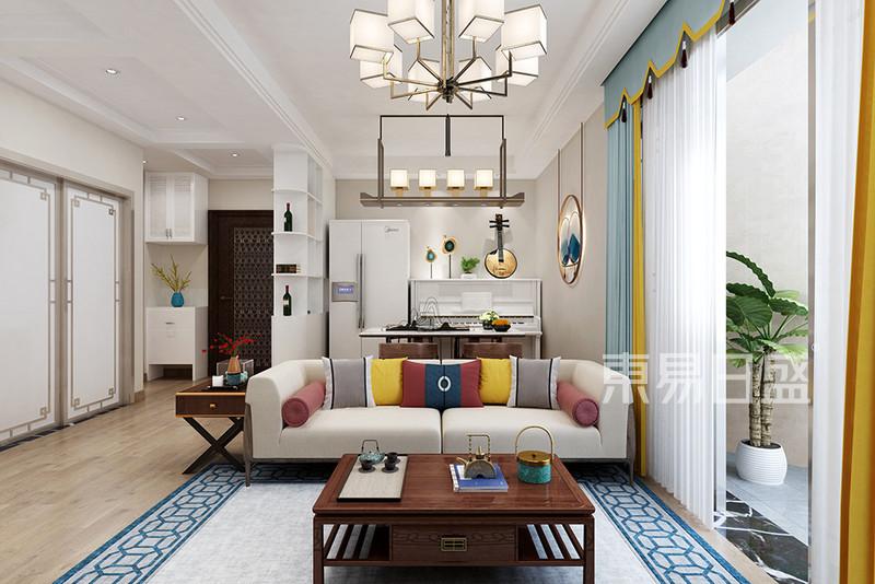 新中式风格三室二厅客厅装修