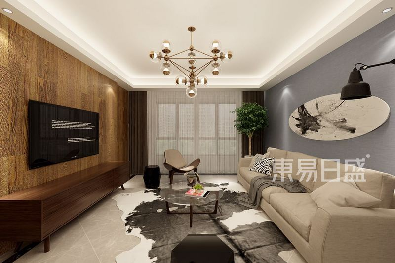 紫金府现代简约风格客厅效果图