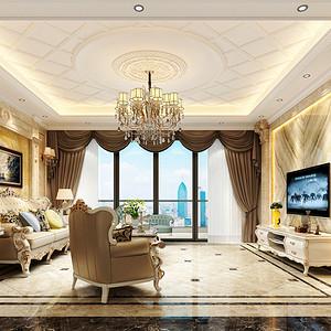 华联城市全景 简欧风格装修效果图 220平米四室两厅案例