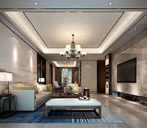 鼎峰尚境四房新中式客厅装修效果图