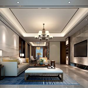 东城鼎峰尚境装修案例 160㎡四房二厅新中式风格装修效果图