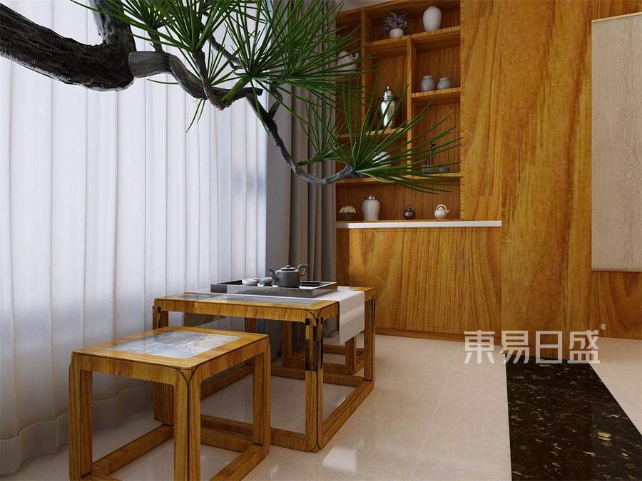四居室-新中式-阳台-效果图