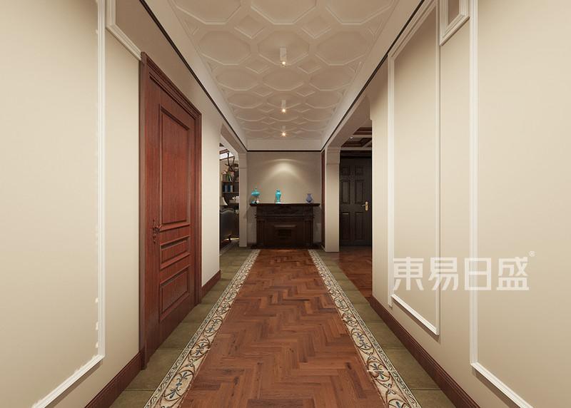 过道地面采用地砖与木地板效果图_装修效果图大全2018
